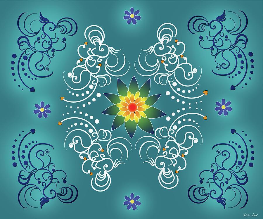 Blue And White Mandala Pattern Photograph