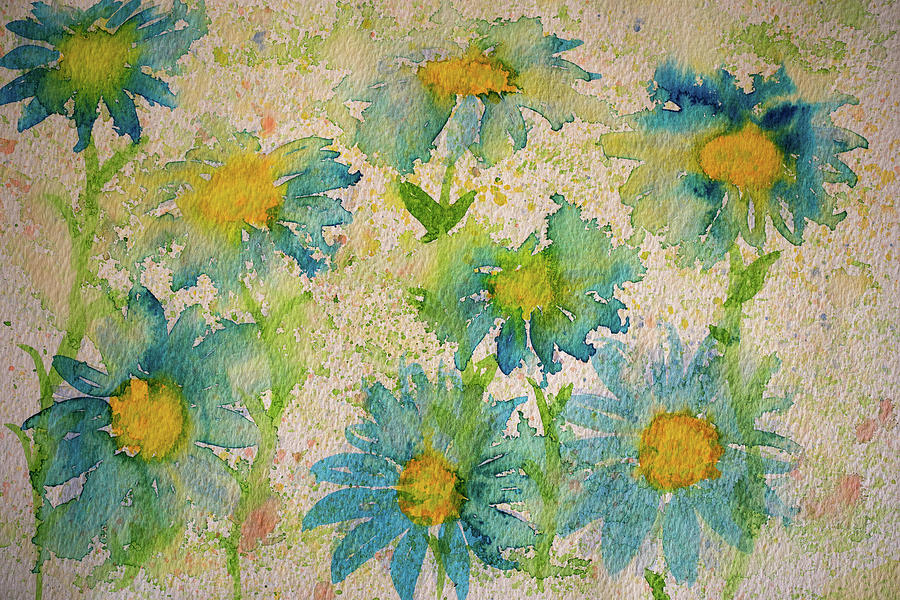 Blue And Yellow Daisies Painting