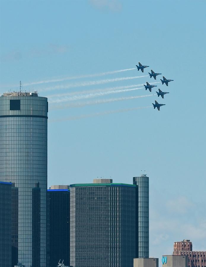 Blue Angels Photograph - Blue Angels Over Detroit by John Bates
