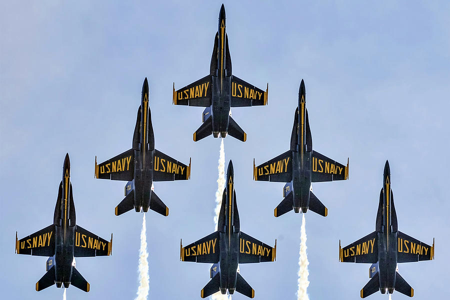 Blue Angels Squadron In Formation by Gigi Ebert