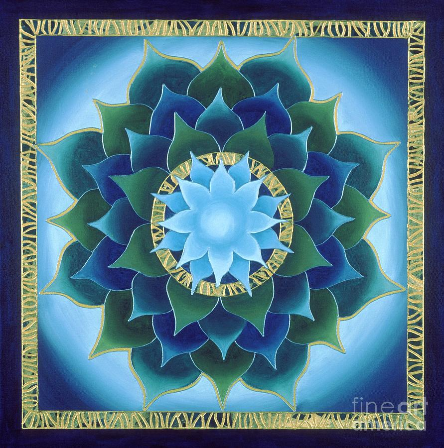 Mandala Painting - Blue Aura Lotus by Charlotte Backman