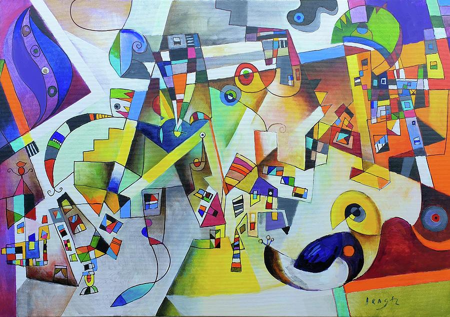 Bengez Painting -  Blue Bird With A Yellow Head by Miljenko Bengez