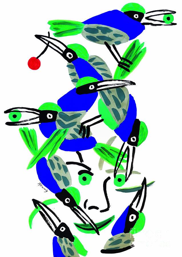 Blue Drawing - Blue Birds by Wolf-Dieter Pfennig