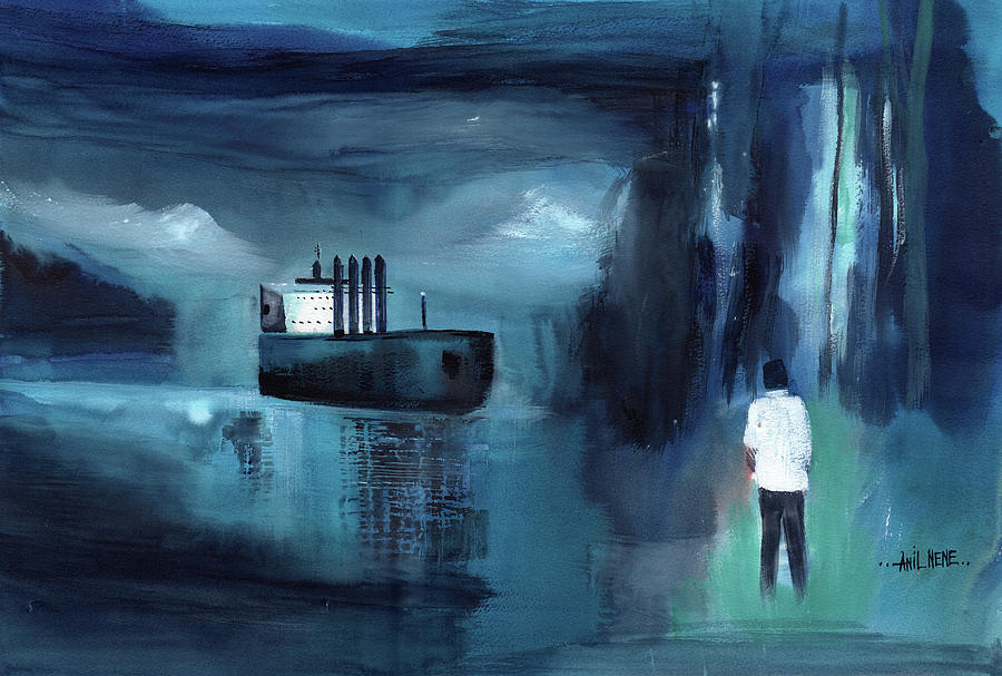 Blue Boat Painting