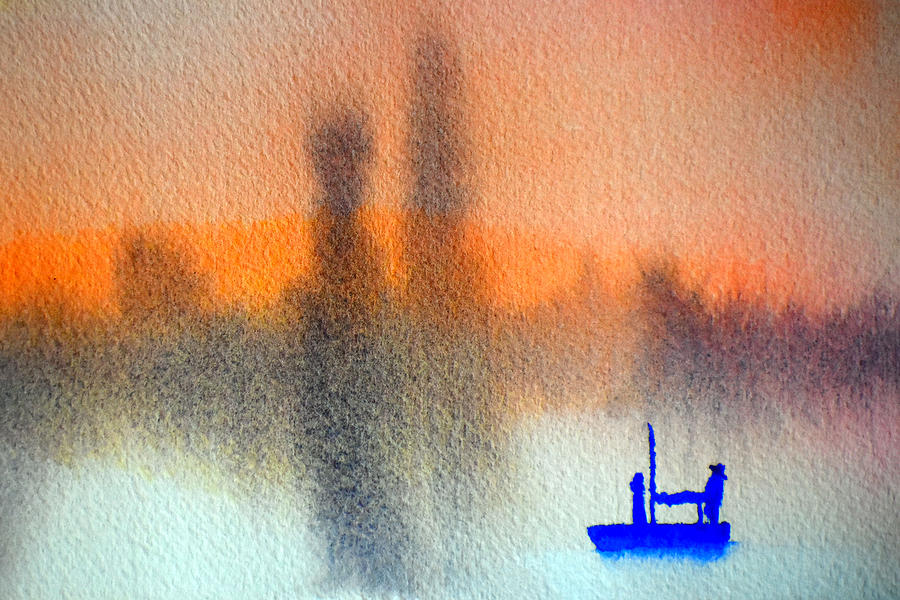 Blue boat at Twilight by Paul Thompson