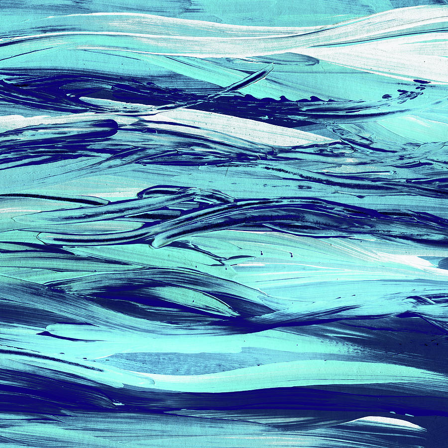 Blue Breezy Shore Sea Waves Decorative Abstract Painting
