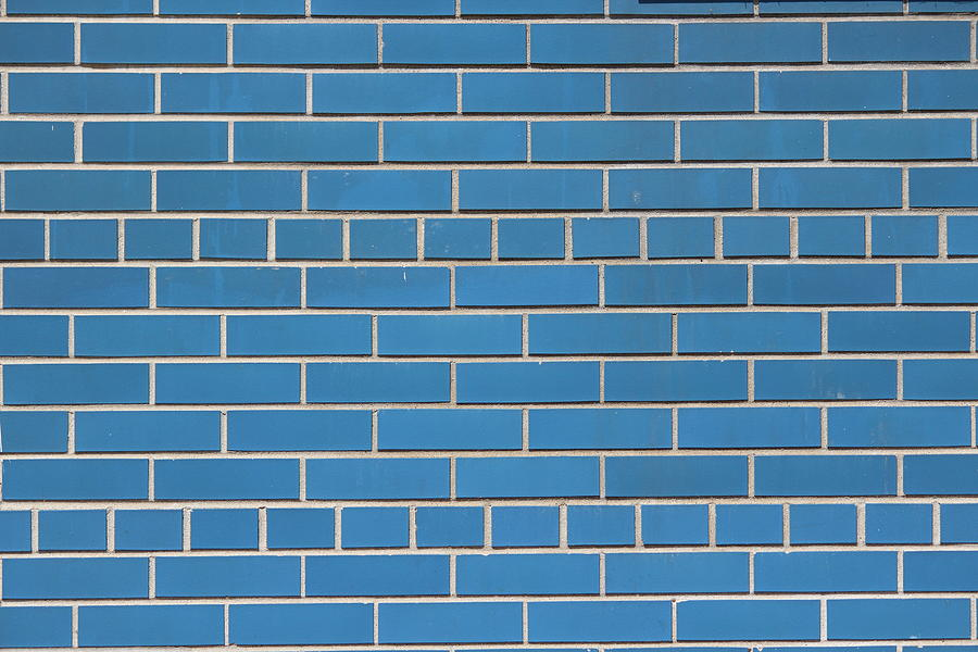 Brick Wall Photograph - Blue Bricks by Callen Harty