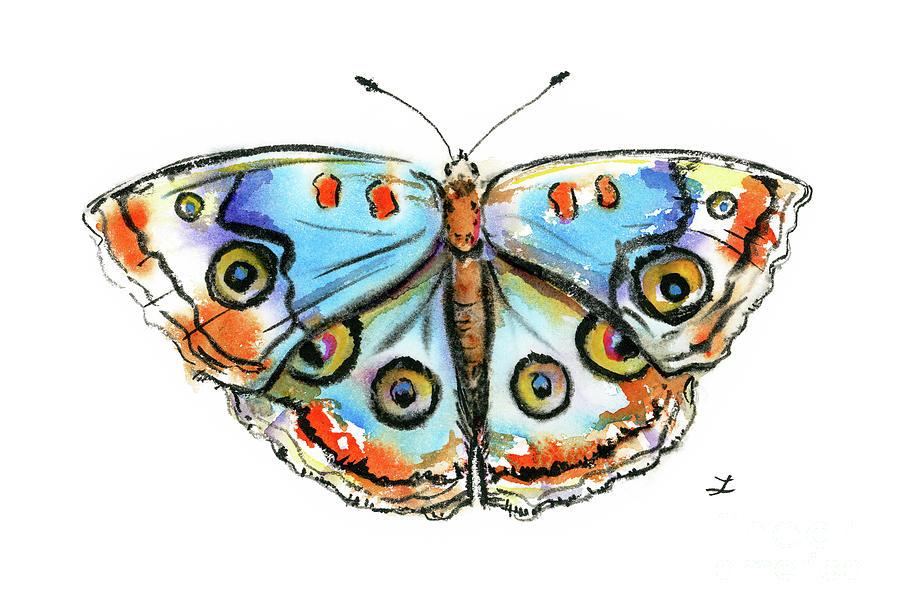 Blue Buckeye Butterfly Painting