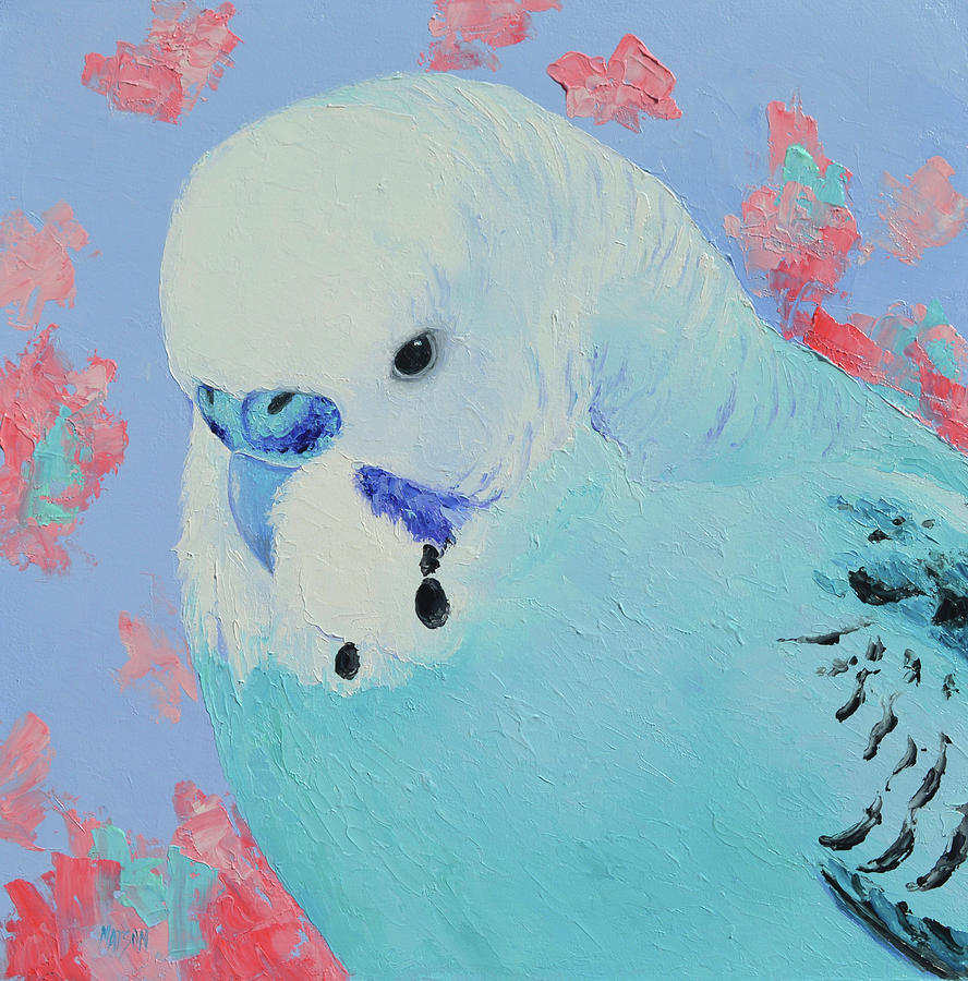 Blue Budgie Painting