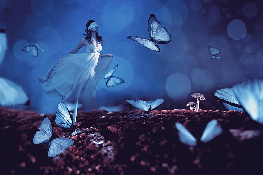 Blue Butterflies Digital Art