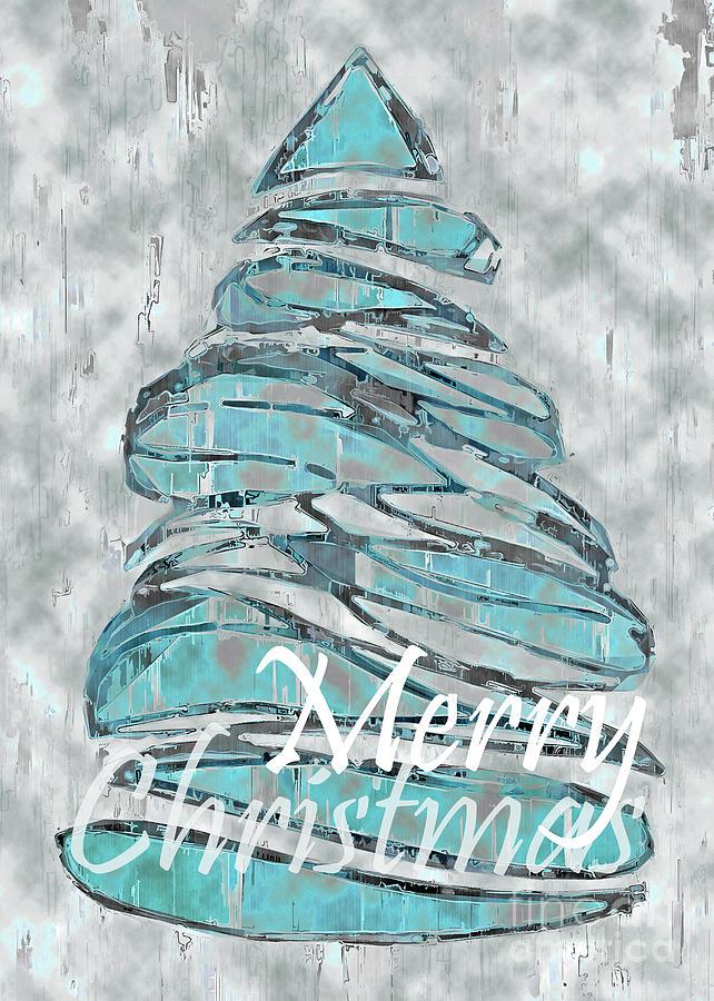 Blue Christmas, 5x7 Merry Christmas again by Banyan Ranch Studios