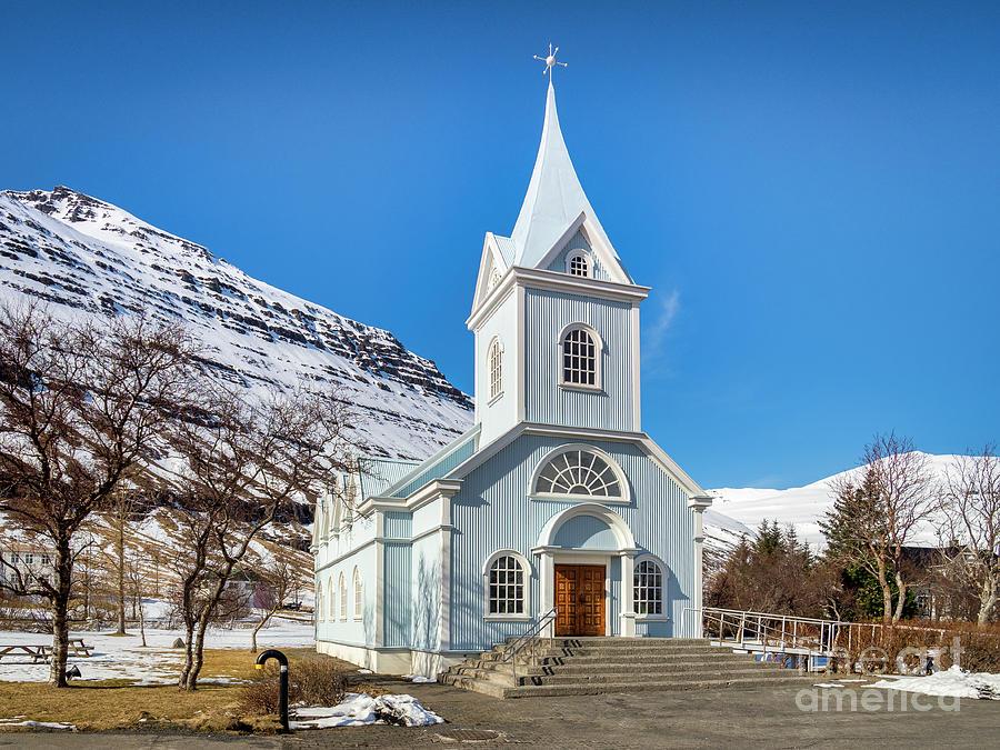 Blue Church At Seydisfjordur East Iceland Photograph