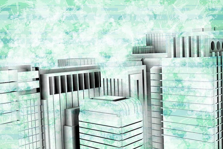 Blue City Sketch Buildings Digital Art