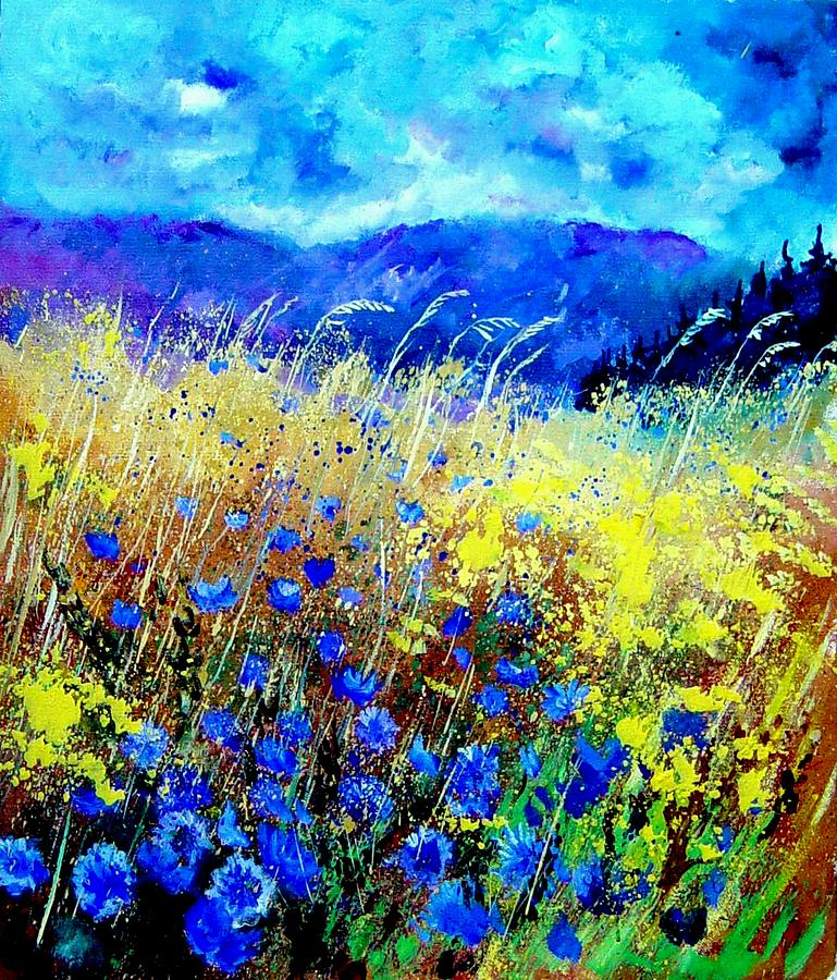 Poppies Painting - Blue cornflowers 67 by Pol Ledent