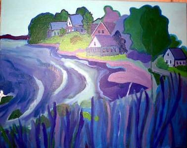 Cottages Painting - Blue Cottages by Debra Bretton Robinson
