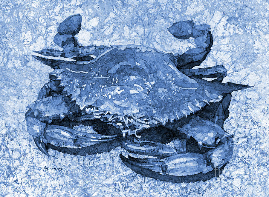 Blue Crab In Blue Painting
