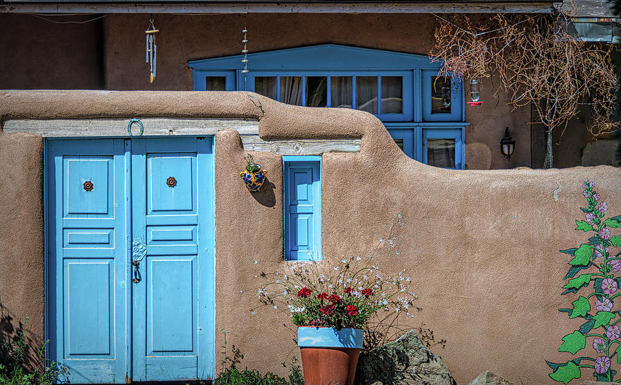 Blue Doors And Adobe Walls Ranchos De Taos New Mexico Photograph
