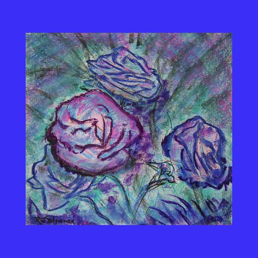 Blue Edged Roses Painting