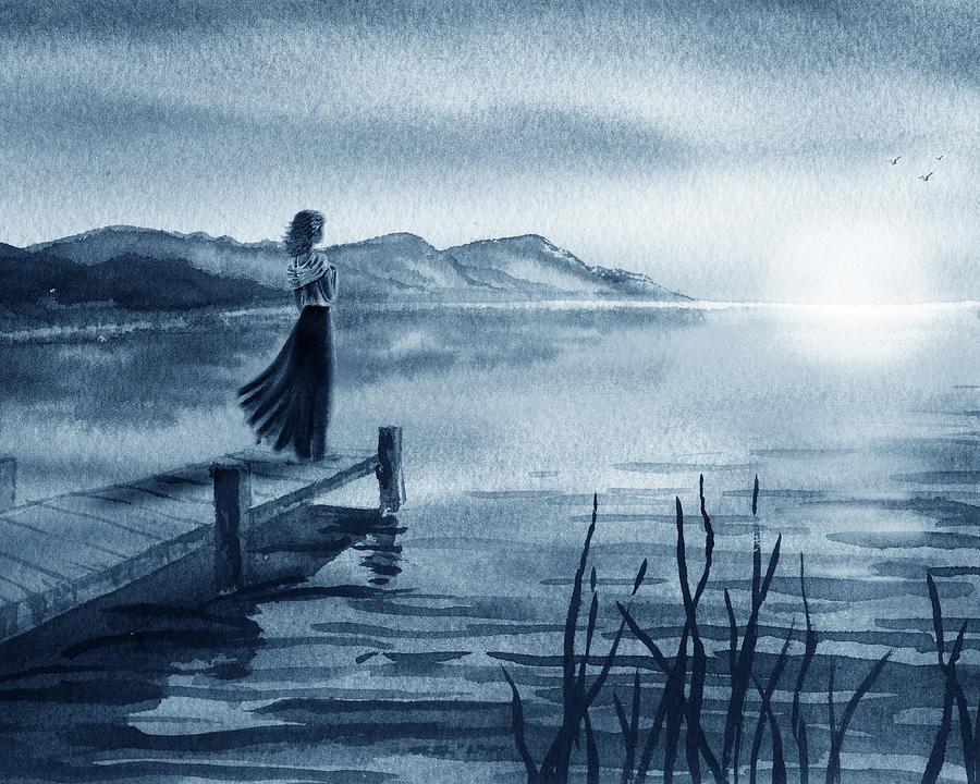 Blue Evening Sunset Girl At The Lake Seascape Watercolor Painting By Irina Sztukowski