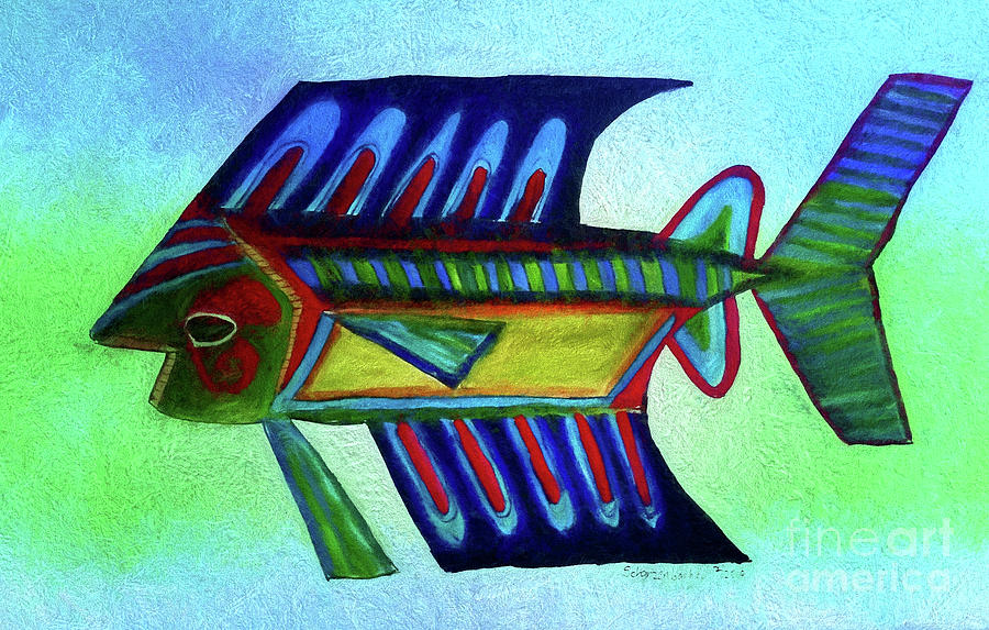 Mexican Blue Fish Painting