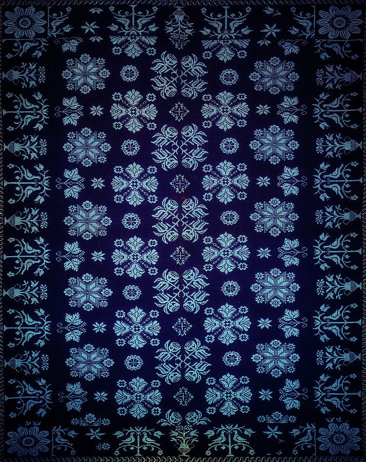 Blue Floral Fabric Vintage Gift Pattern Deep by John Williams