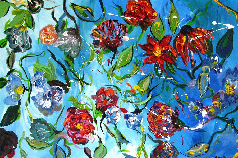 Flowers Painting - Blue Flowers by Britt Miller