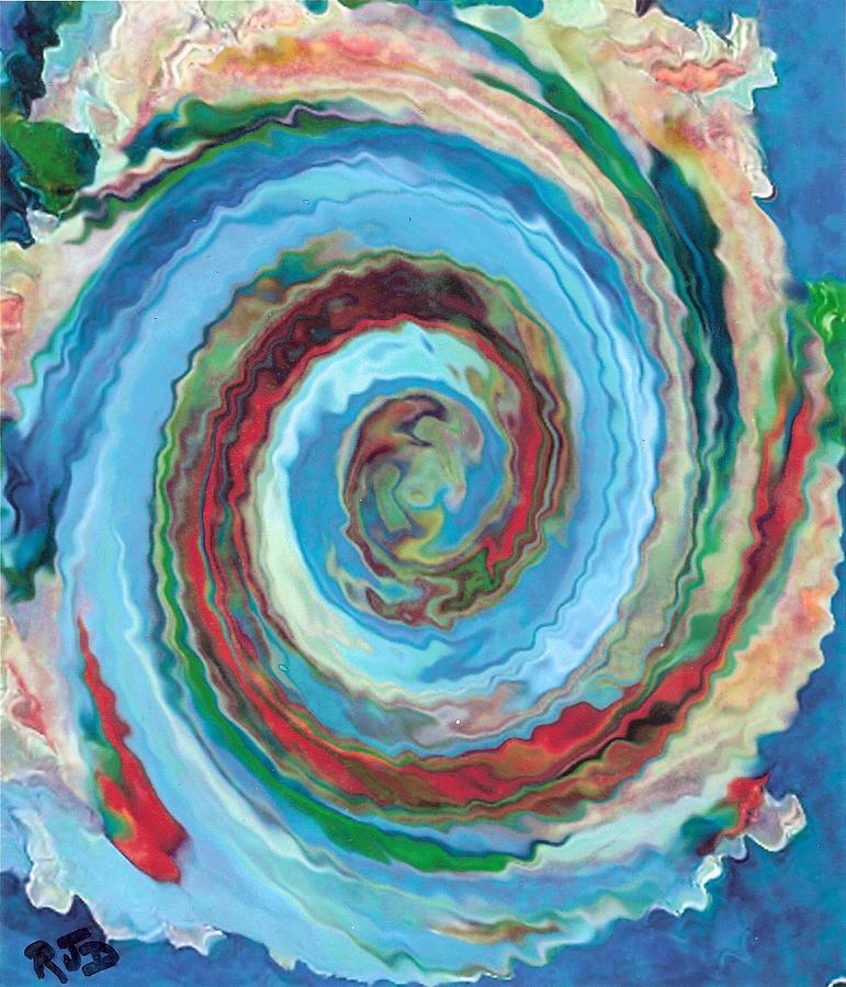 Blue Frenzy Swirl Fantasy Painting
