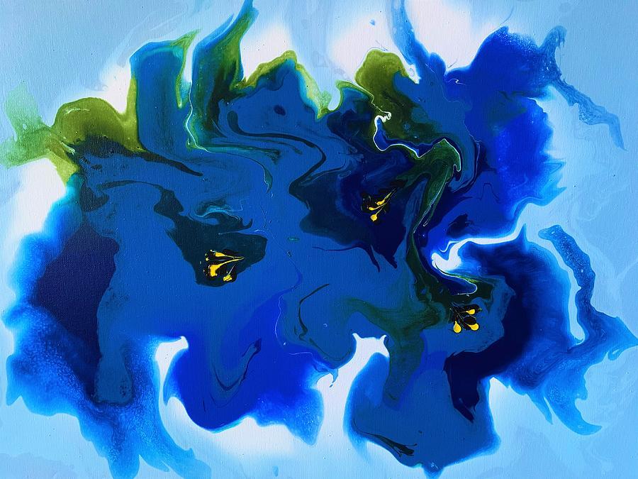 Blue Gentian Flowers Painting