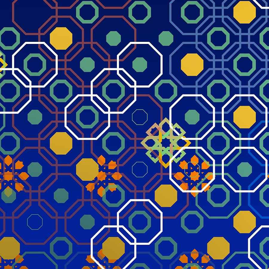 Blue Geometric Composition With White Octagon Digital Art