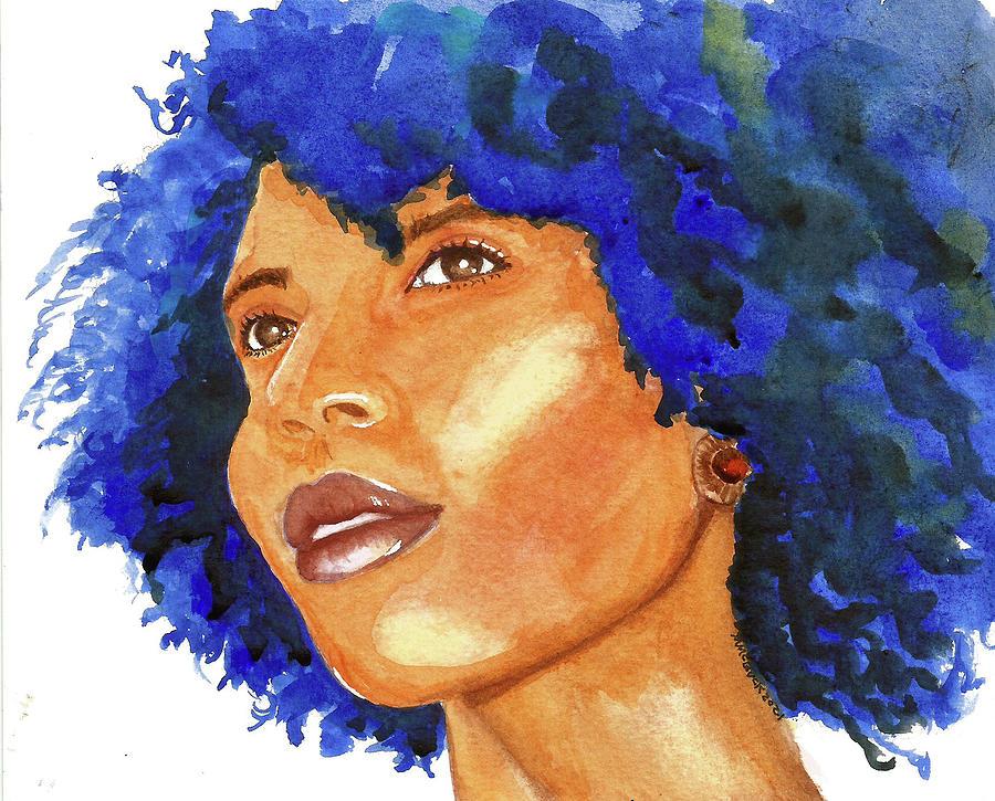 Blue Hair Beauty Painting