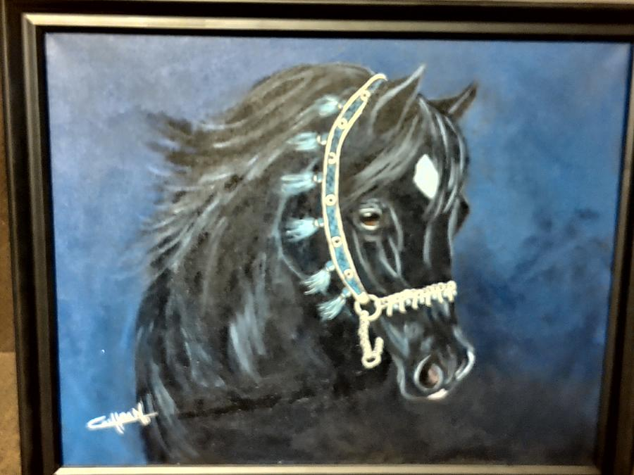 Horse Painting - Blue Halter by Diana Cochran