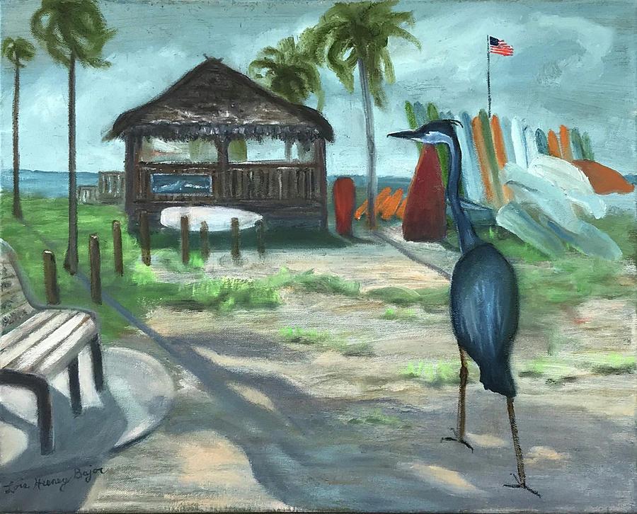 Blue Heron Painting - Blue Heron Beach Shack by Lois Bajor