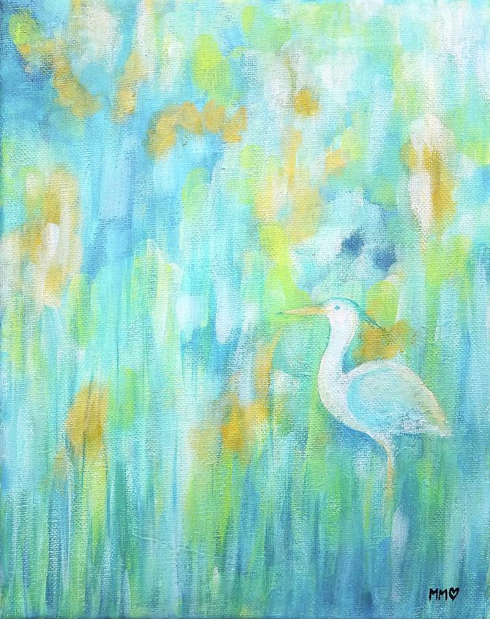 Blue Heron Painting - Blue Heron Hiding by Marieke Mertz