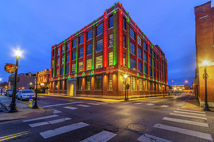 Blue Hour at the EW King Building Decorated for Christmas by Greg Booher