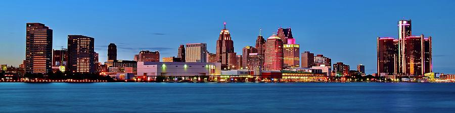 Blue Hour Pano Of Detroit Photograph
