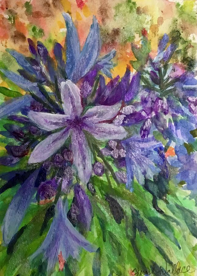 Agapanthus Painting - Blue Lily by Cheryl Wallace