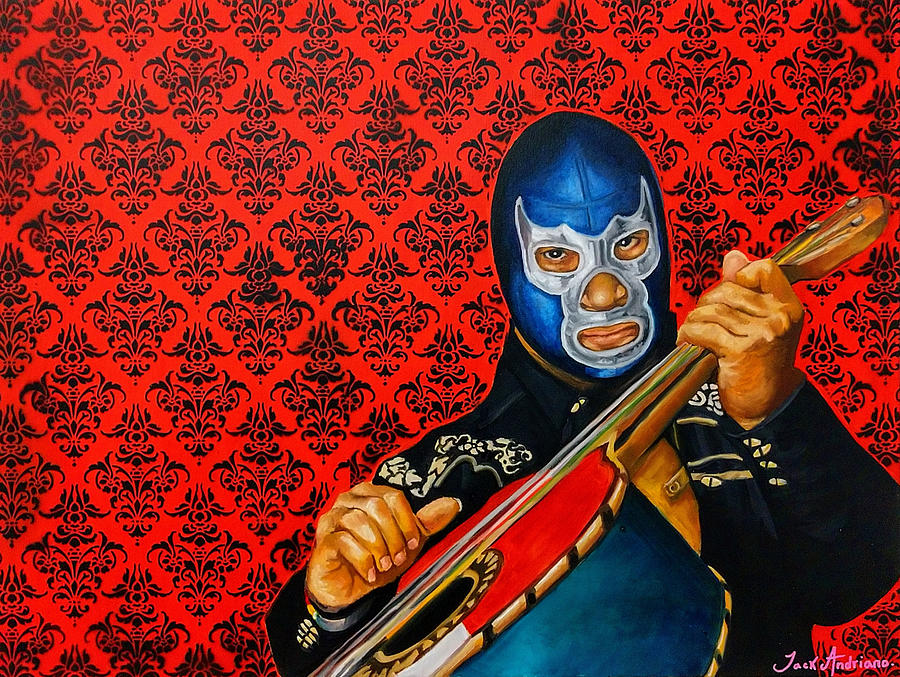 Lucha Libre Painting - Blue mariachi by Jack Andriano
