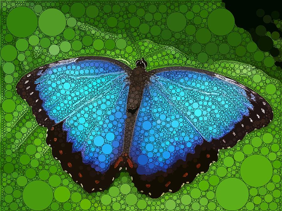 Blue Digital Art - Blue Morpho Butterfly by Dahl Winters