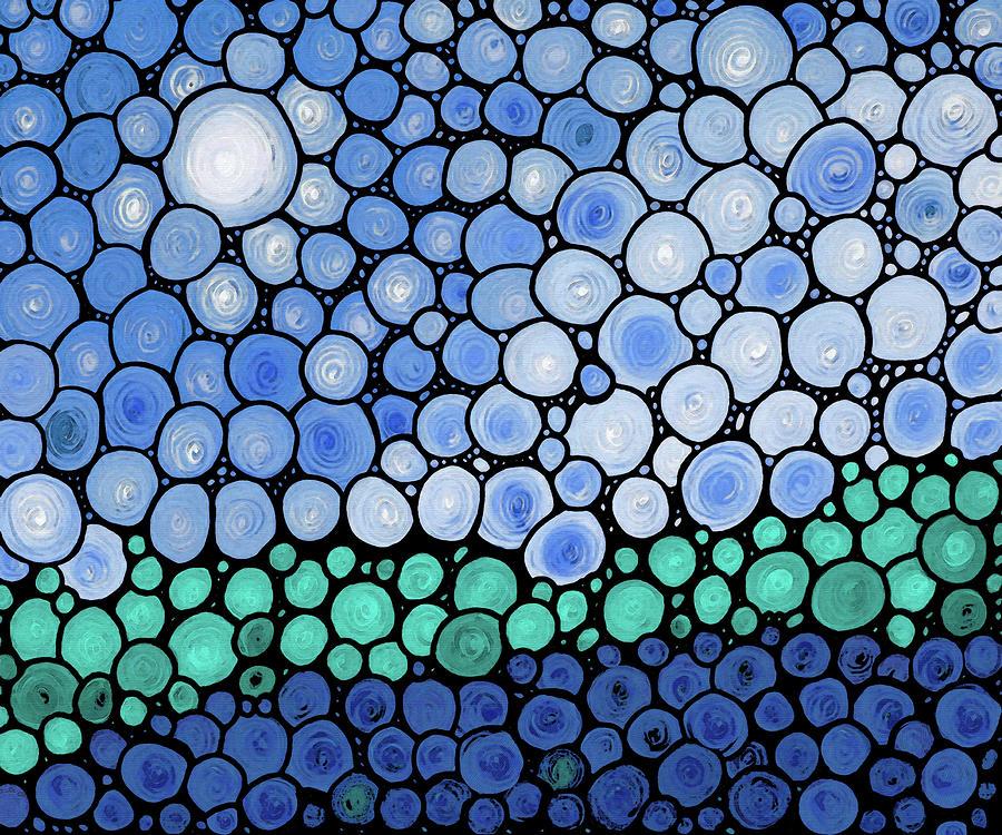 Abstract Painting - Blue Mosaic Art - Twilight - Sharon Cummings by Sharon Cummings