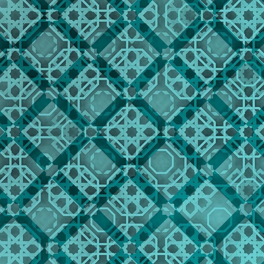 Blue Mosern Arabesque Decorative Art Digital Art