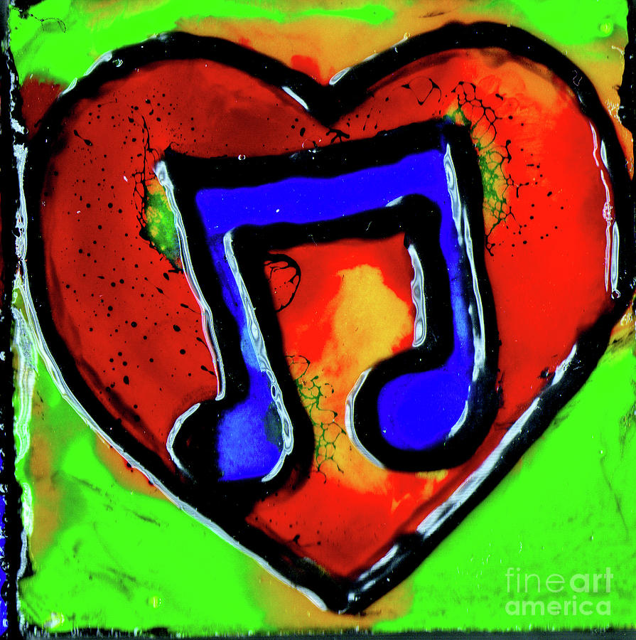 Blue Music Notes In Red Heart by Genevieve Esson