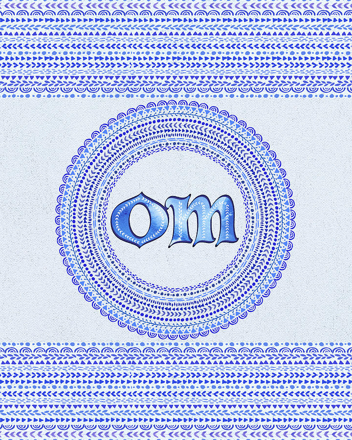 Om Painting - Blue OM Mandala by Tammy Wetzel