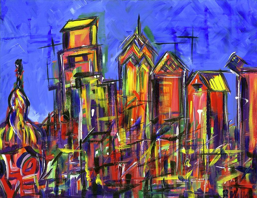 Philly Painting - Blue Philadelphia Skyline with Love by Britt Miller