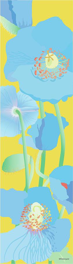 Flowers Painting - Blue Poppies by Marian Federspiel