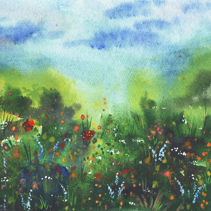Blue Red Orange White Flowers Field Painting