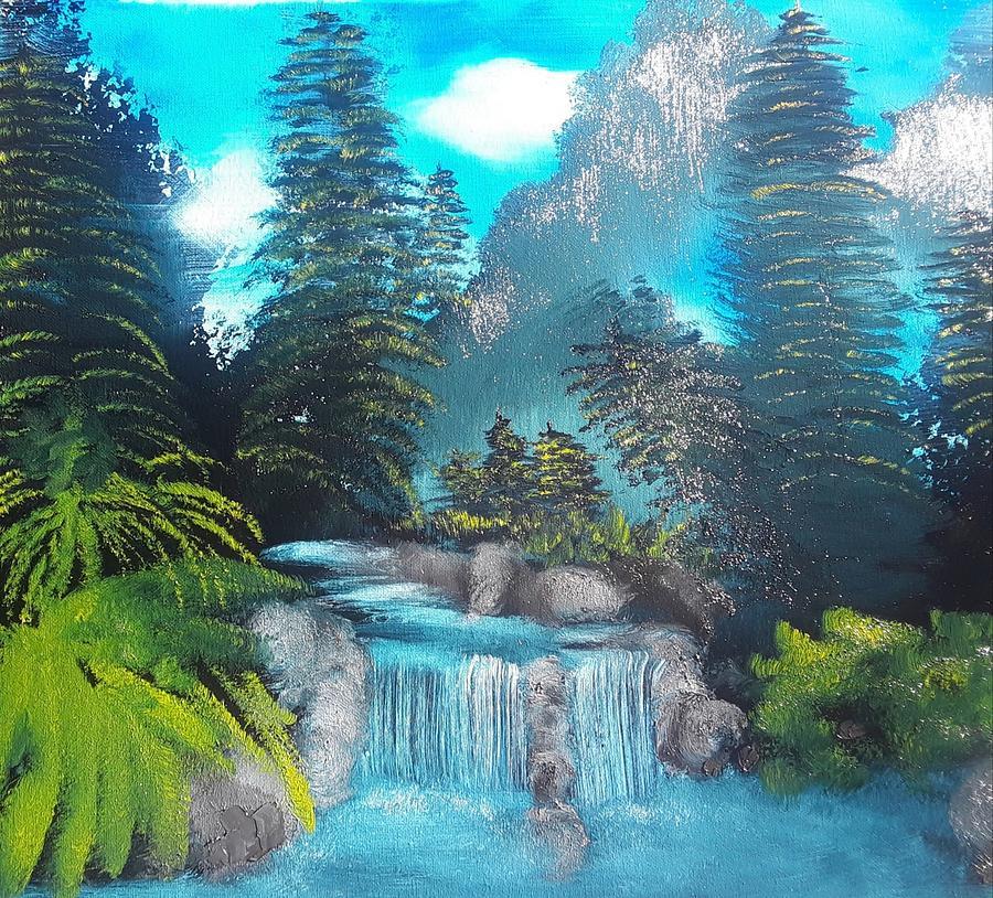 Waterfall Painting - Blue Ridge Falls by Janet Lyons