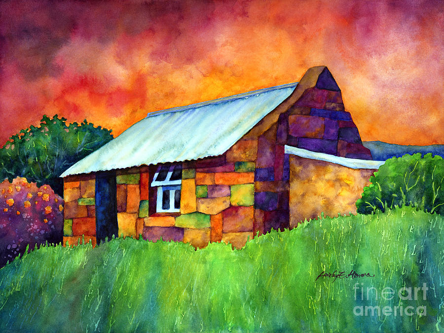 Blue Roof Cottage Painting