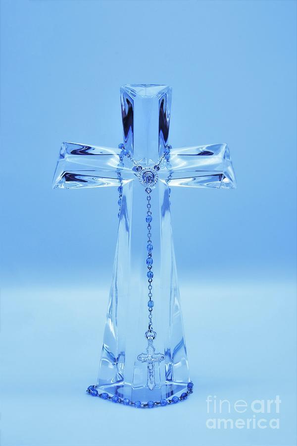 Blue Rosary And Cross by Karen Silvestri