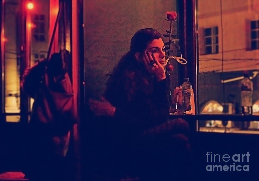 Girl Digital Art - Blue Rose In Red Night by Yavor Mihaylov