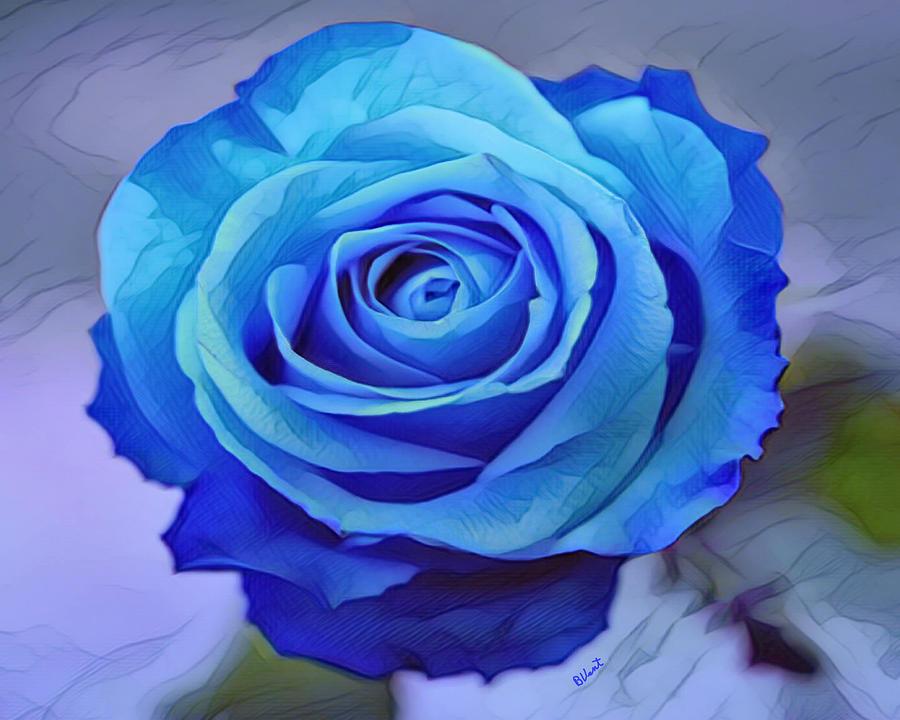 Rose Digital Art - Blue Rose Watercolor  by Bonnie Vent